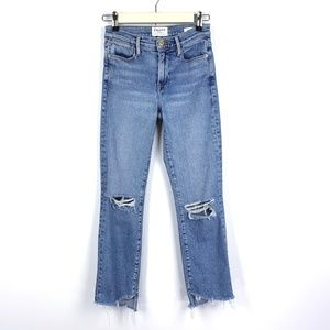 Frame Le High Straight Jeans Distressed Destroyed